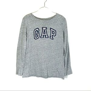 GAP logo sleeve tee grey with pink and navy logo S